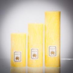 Set sviečok - žltá pastelová matná, matna, sviečka pre znamenie býk, sviečka pre znamenie baran, sviečka pre znamenie škorpión, sviečka pre znamenie rak